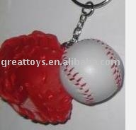 Mini leather baseball keychain with glove