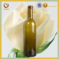 Empty popular 750ml hot sale green/amber grape red glass wine bottles