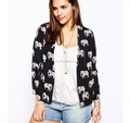 Soft Blazer In Elephant Print/Women casual jacket/clothing supplier china/wholesale apparel model cp358