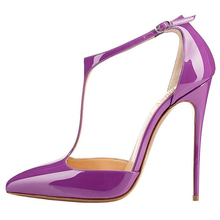 Custom Logo Women's High Heel Sandals Patent Leather Purple T Ankle Strap Sexy Ladies Stiletto Heel Pumps Shoes