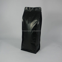 laminated food grade flat bottom matt black coffee bag