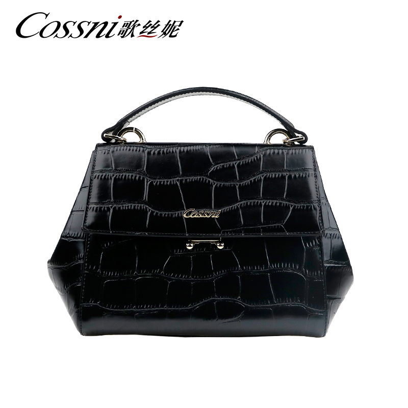 New Stone Pattern Cowhide Leather Handbag Stylish Genuine Tote Bag With Long Leather Shoulder Strap