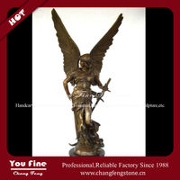 Bronze righteous angel with sword sculpture