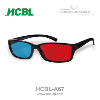 plastic stronger frame reusable red and blue 3d glasses made in China