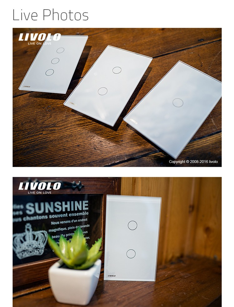 Free Shipping Livolo US Power Wall Touch Light Switch Electrical 110~220V 3 gang 1 way with LED indicator VL-C503-11