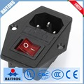 15A 250V AC power socket with fuse and 4pin rocker switch