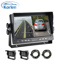 7 inch split screen monitor with 4 cameras for truck bus vehicle cargo rear view system