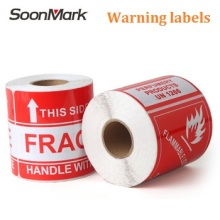 Self Adhesive Paper Labels Printed Shipping Labels Sticker Glossy Logo Fragile Handle With Care Labels