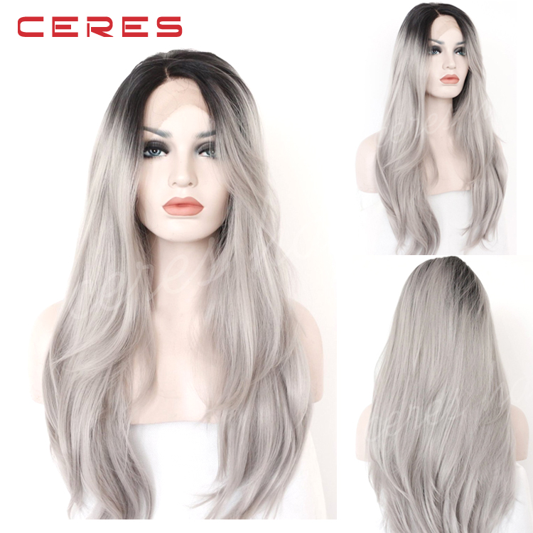 lace front black to grey ombre wig long wavy high temperature synthetic wig