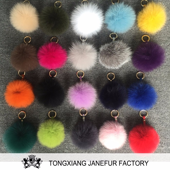 Custom die casting colorful furry pompon fox fur ball keychain