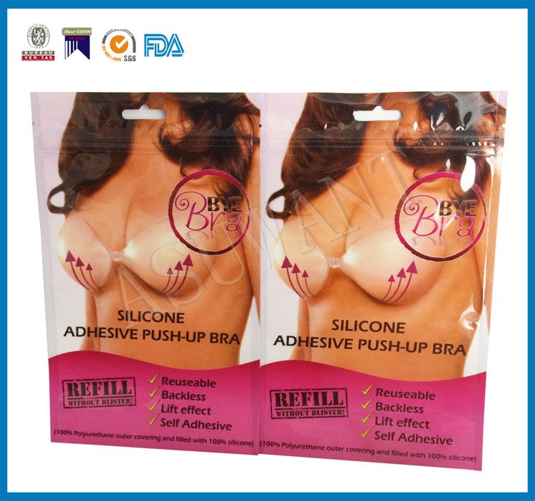 wholesale resuable three side seal zipper top plastic bags for silicone push-up bra packaging