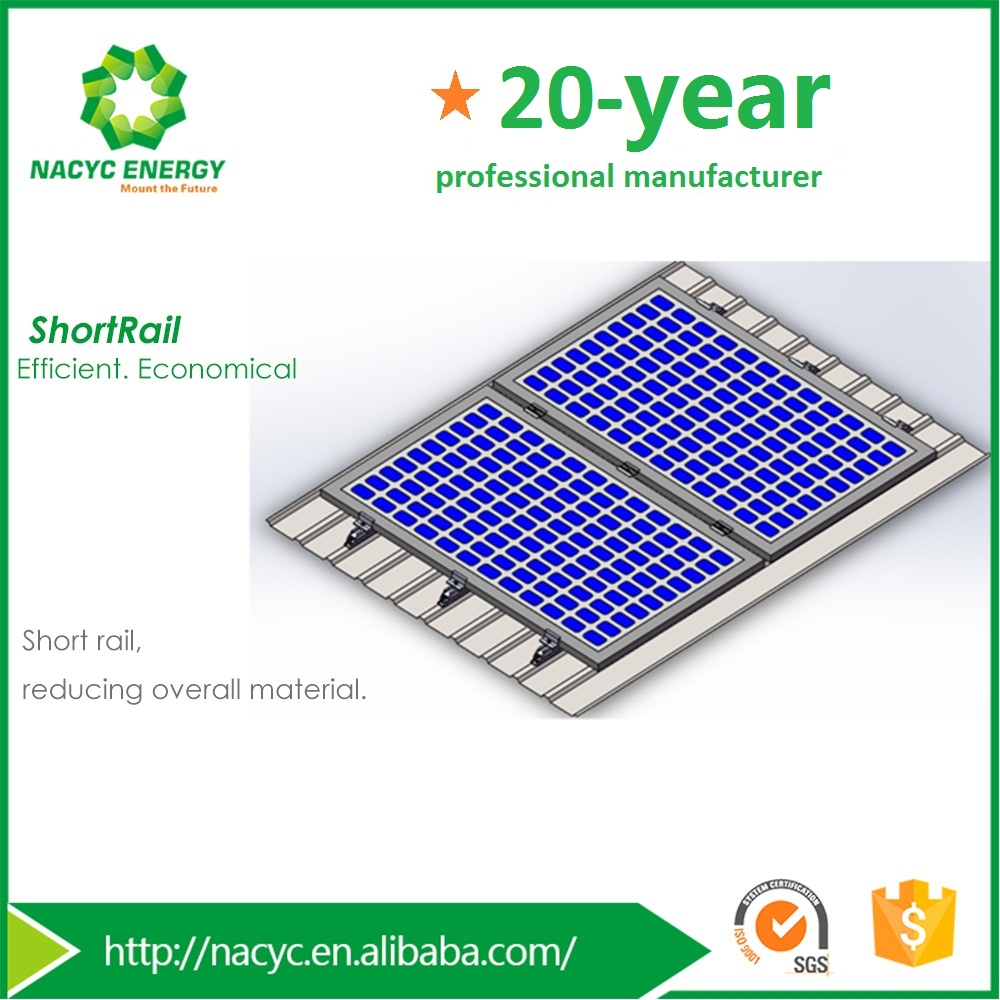 Short rail solar panel mounting system for pitched metal roof