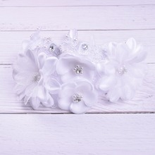Wedding Handcraft Fabric White Crystal Lace Flower Bridal Headband Bridal Hair Accessories