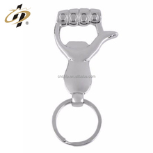 Wholesale cheap custom fist thumb shape wine bottle opener metal keychain
