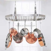 Customized Metal Wire Kitchen Hanging Pot Rack with Hooks