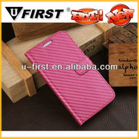 Unique Carbon fiber pattern leather flip cover with card slots for samsung galaxy S4,wholesale mobile phone accessories