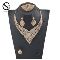 E-7312 CS fashion luxury indian bridal jewelry display set,luxury gold cubic zirconia wedding necklace set