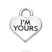 Free shipping antique silver heart shaped I'm yours word charms made in China