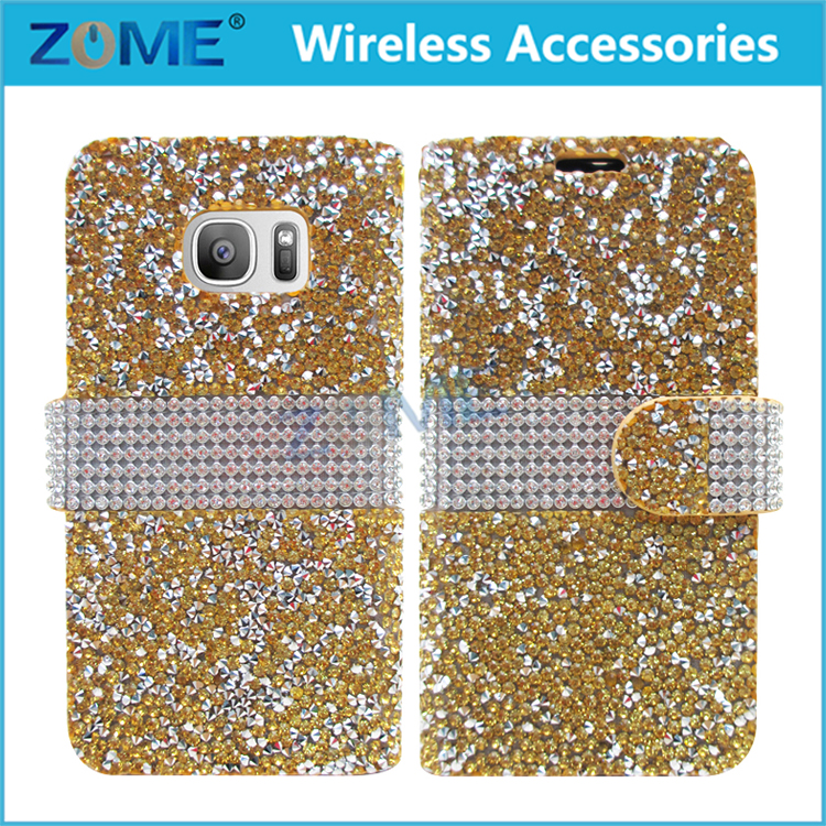 Luxury Bling Diamond Wallet Stand Flip Leather Pu High Quality Card Slot Phone Bag Case Cover For Samsung Galaxy J7