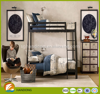 Simple home dark two floor bed for kids with side ladder