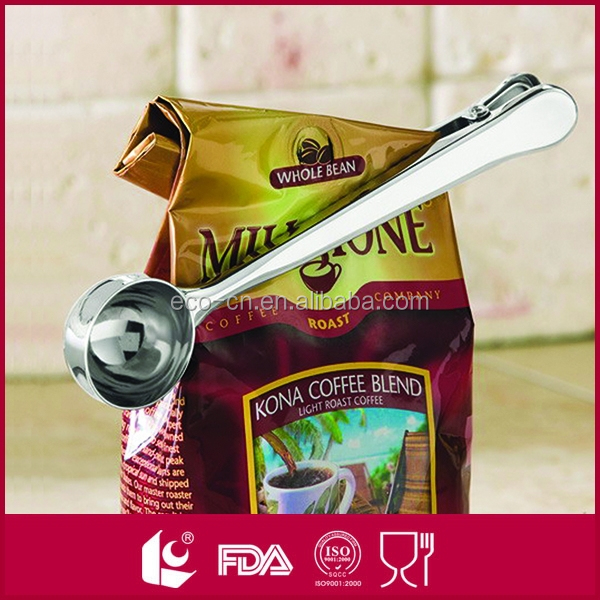 Built-in clip endurance stainless steel coffee scoop