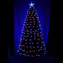 210cm full blue LED lights with frosted ball ornaments fiber optic Christmas tree