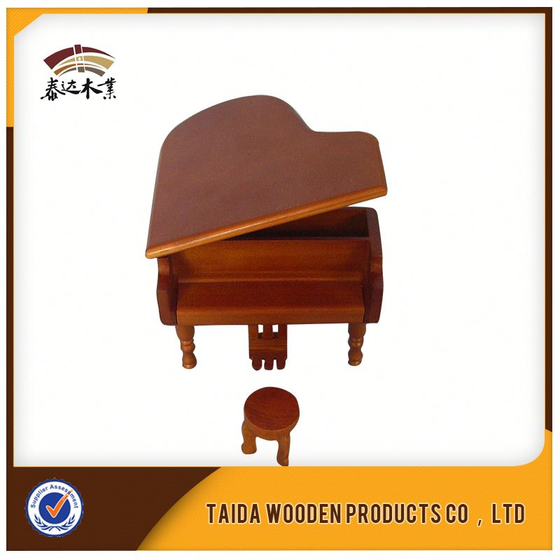 Small Piano Shaped Wooden Music Box For Children
