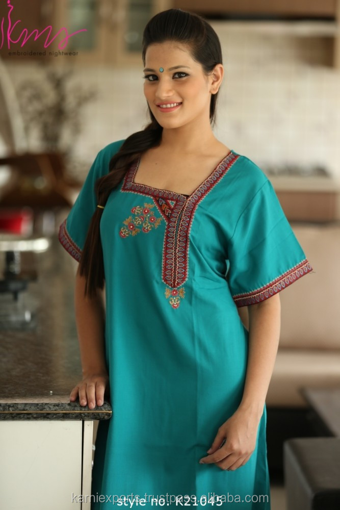 2017 Indian embroidered cotton kaftan / Long aqua color best india abaya dress & gown in polyester