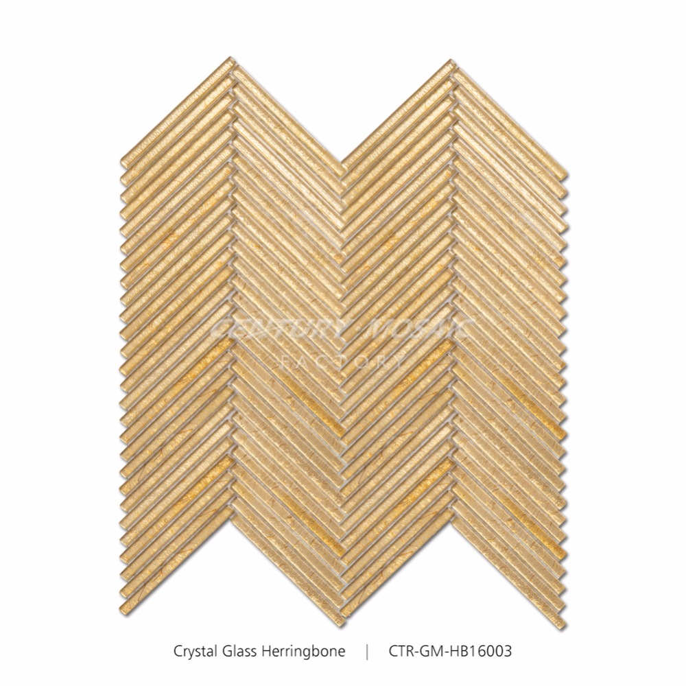Century Luxurious Home Decor Herringbone Gold Foiled Glass Mosaic Tile