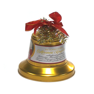Decorative Christmas Bell Shape Tin Box with Ribbon