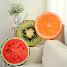 2017 Soft creative 3D fruit pillow cushion sofa orange plush round fruit throw pillow