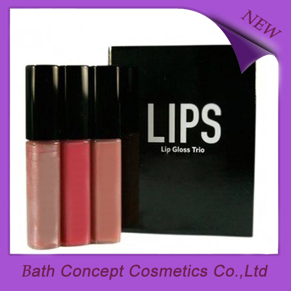 Matte color 3 sets lip gloss with box