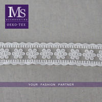 Exquisite 4.5cm african swiss voile lace, white ribbon flower lace embroidery fabric