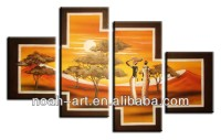 Group art african painting oil for wall decoration