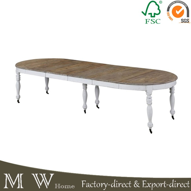 French Solid Wood Table White Leg With Casters Reclaimed Wood Extendable Dining Table