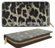 2014 New Arrival Leopard Printing Women Wallets PU Leather Wallet Zip Around Purse