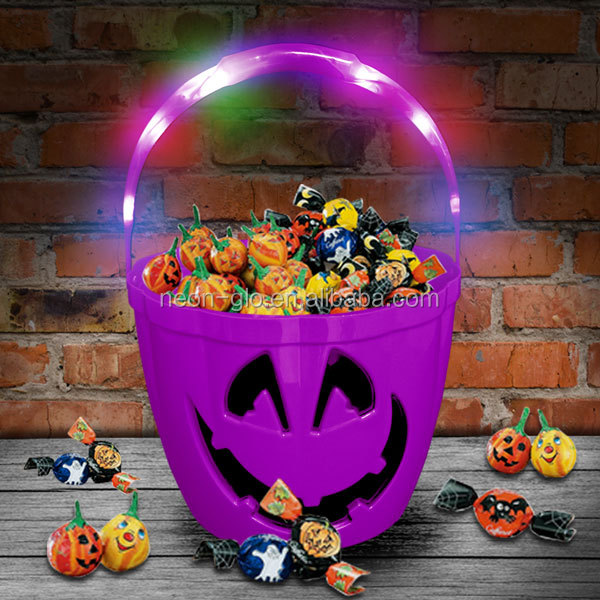 kids halloween luminous Light Up led Trick or Treat Safety Bucket