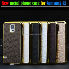 Football Grain pu leather metal phone case for Samsung GALAXY S5 i9600 , phone case making machine