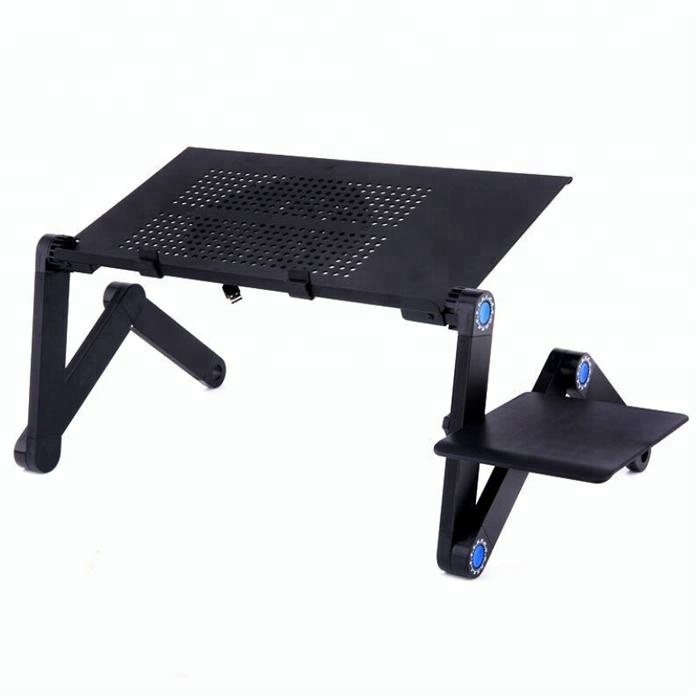 Wholesale Portable Adjustable folding arm aluminum Laptop Desk/Stand/Table for bed with cooling fan and mouse pad