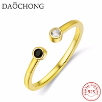 Hot Sale New Fashion Adjustable Open Gold Plated Black And White Zircon Rings