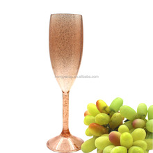 165ml Glitter Goden Shinning Thick-walled Plastic Champagne Flutes Glass