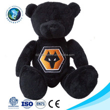 Professional manufacturer custom cool cute stuffed soft toy plush black teddy bear doll with embroider LOGO