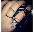 Women Charm Metal Crystal Rhinestone Star Double Chain Spiral Finger Ring #1140