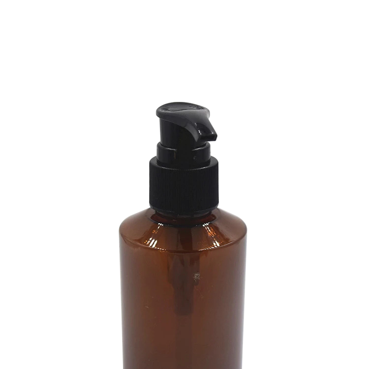 Cosmetic package 100 ml amber plastic PET bottle amber pet bottle with plastic pump