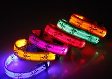 Luminous Webbing led dog collars with metal slider and PU tips