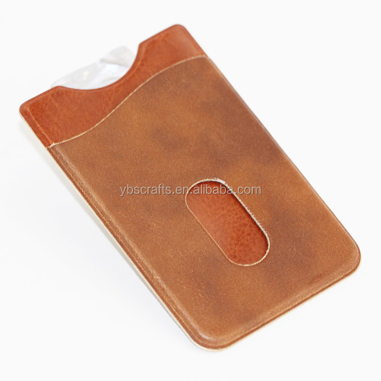 Leather Adhesive Card Pouch/Credit Card Holder/Cell Phone Wallet