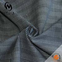 black checks fabric with white stripe