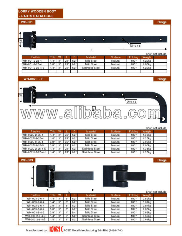 Truck Body Door Parts Holders Accessory Builders Fittings Hinges Hardware Handle Lock Seal Latches