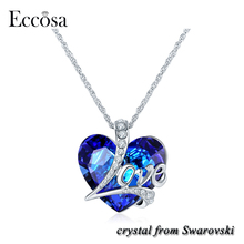 Eccosa Love Letters Heart of the Ocean Blue Stone Pendant Bijoux girlfriend Necklace Made with Crystals from Swarovski