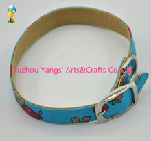 Wholesale plain thin leather dog collar with heat trabsfer printing logo